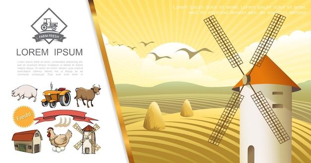 Concepto colorido de la granja retro
