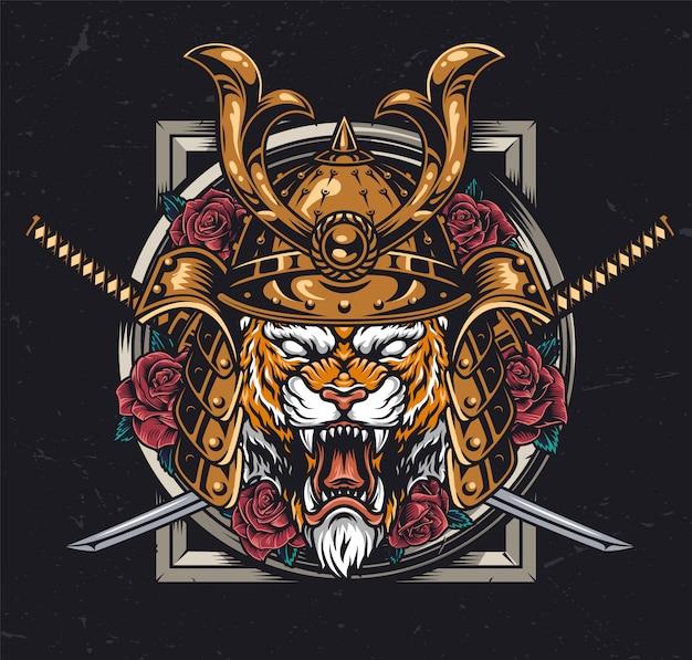 Concepto colorido guerrero animal vintage