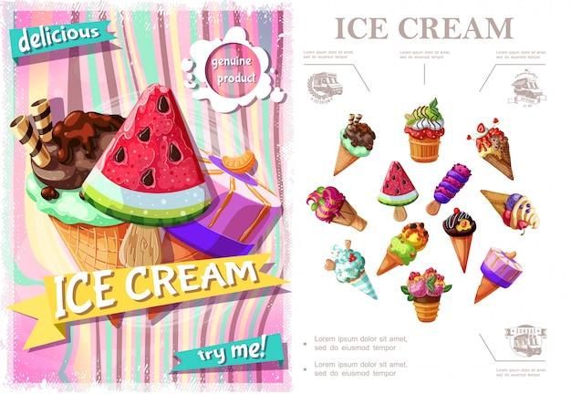 Concepto colorido de helado fresco con helados de diferentes tipos y sabores en estilo de dibujos animados