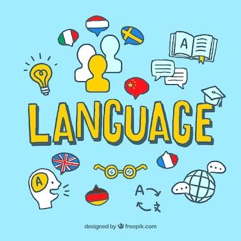 Concepto colorido de idioma con estilo de dibujo a mano