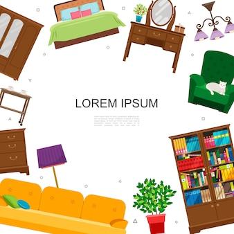 Concepto colorido interior casa plana