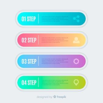 Concepto colorido de pasos infográficos gradientes