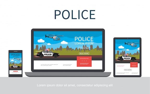 Concepto colorido de la policía plana con paisaje urbano volando helicóptero en movimiento coche adaptable para tabletas móviles y pantallas de portátiles aisladas