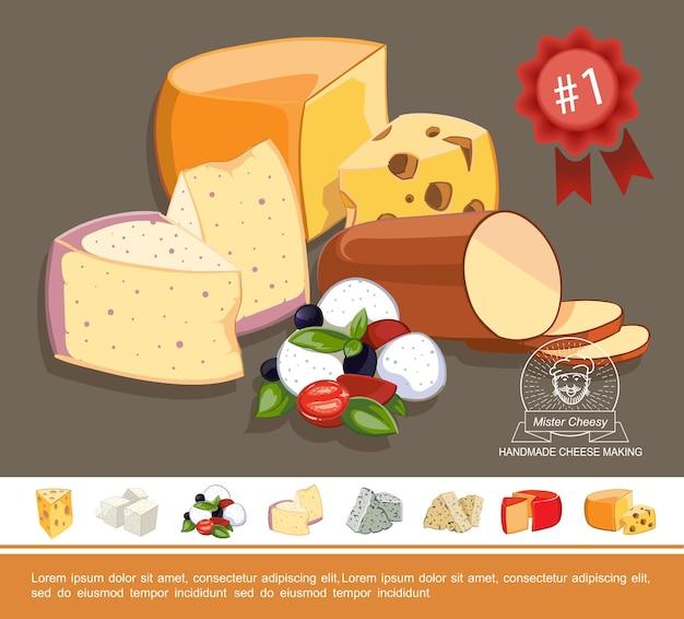 Concepto colorido de queso natural de dibujos animados con sabrosos tipos de quesos italianos griegos holandeses y suizos