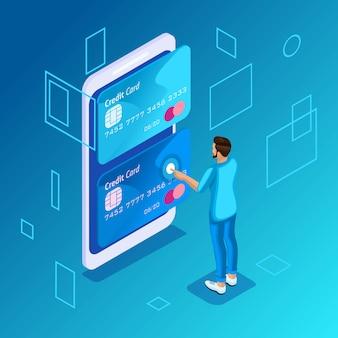 Concepto colorido sobre un fondo azul, gestión de tarjetas de crédito en línea, cuenta bancaria, joven transfiriendo dinero de una tarjeta a otra desde un teléfono inteligente