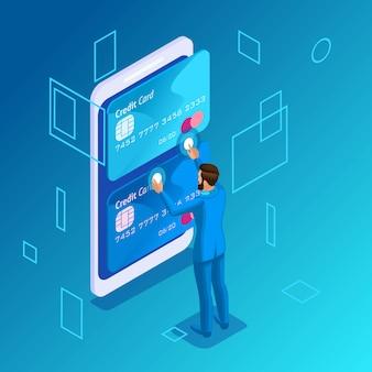 Concepto colorido sobre un fondo azul, gestión de tarjetas de crédito en línea, joven empleador llamando al centro de llamadas para transferir dinero de una tarjeta a otra