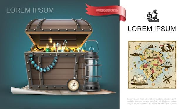 Concepto colorido de tesoros marinos con cofre de gemas realistas, monedas de oro, joyas, linterna de brújula de navegación y mapa pirata dibujado a mano