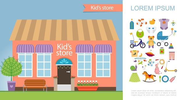 Concepto colorido de la tienda de niños plana