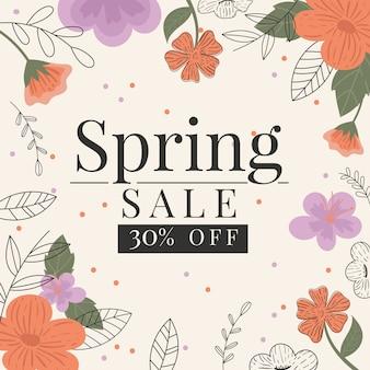 Concepto colorido de venta de primavera plana