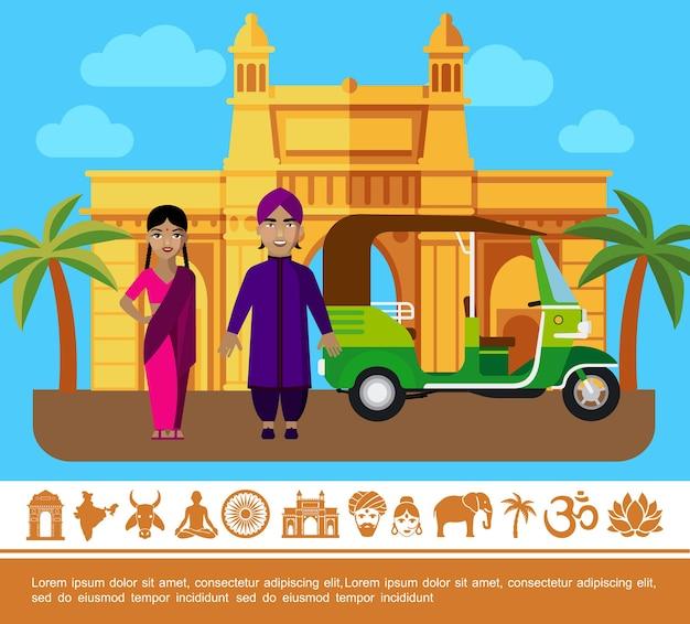 Concepto colorido de viajes de india plana