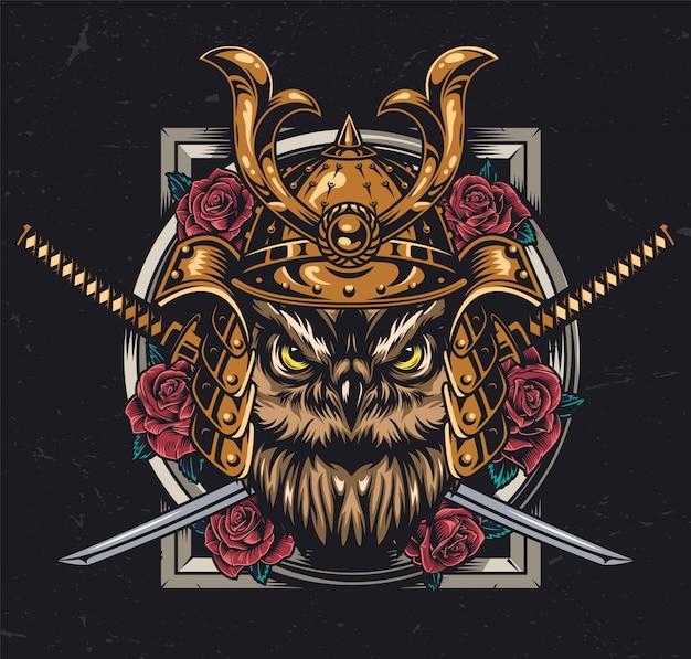 Concepto colorido vintage búho samurai