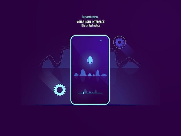 Concepto de comando de interfaz de usuario de voz impresionante, teléfono móvil con onda de sonido, ecualizador