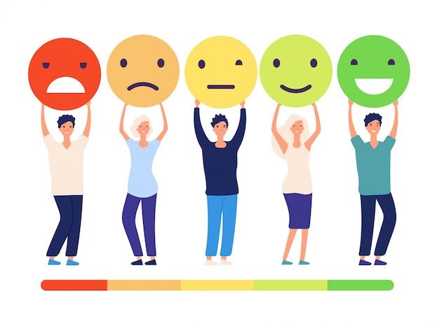 Concepto de comentarios de los clientes. personas y opiniones de revisión de medición aprobación estado de recomendación. emoticones de mal a buen conjunto