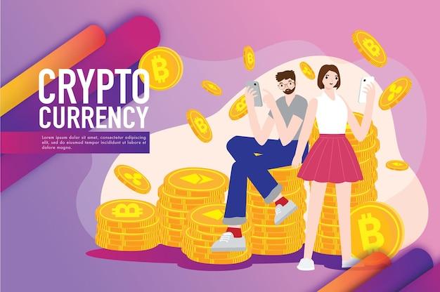 Concepto de comercio de criptomonedas financiero