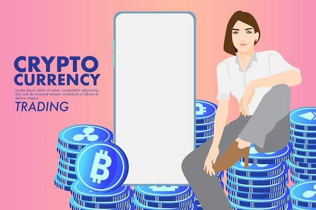 Concepto de comercio de divisas criptográficas concepto financiero