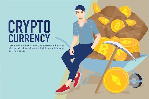 Concepto de comercio de divisas criptográficas monedas criptográficas