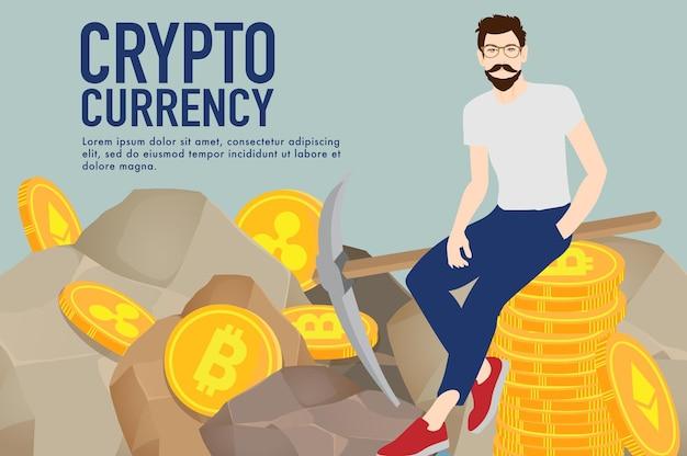 Concepto de comercio de divisas criptográficas