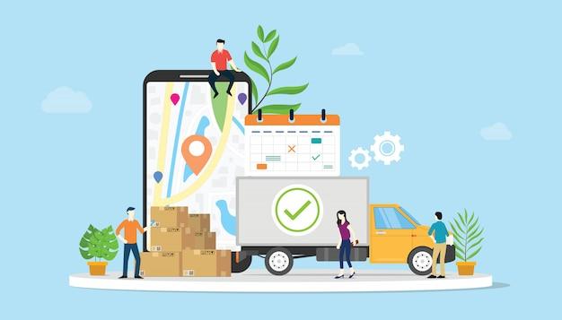 Concepto de comercio electrónico de bienes de entrega en línea con personas de equipo