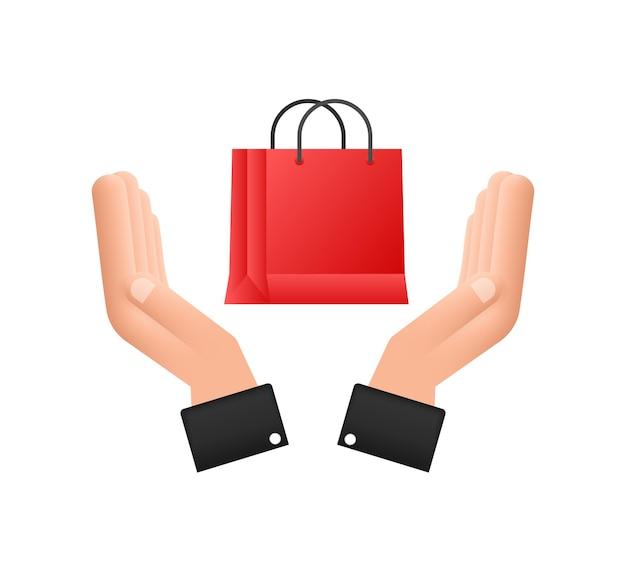 Concepto de comercio electrónico de compras en línea con icono de marketing y compras en línea manos sosteniendo