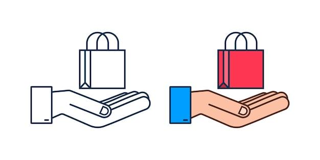 Concepto de comercio electrónico de compras en línea con icono de marketing y compras en línea