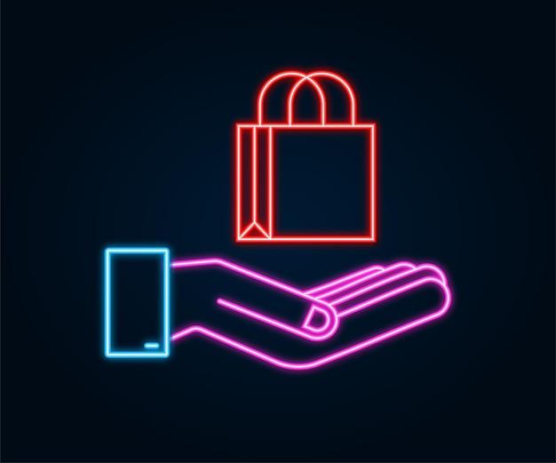 Concepto de comercio electrónico de compras en línea de neón con icono de marketing y compras en línea