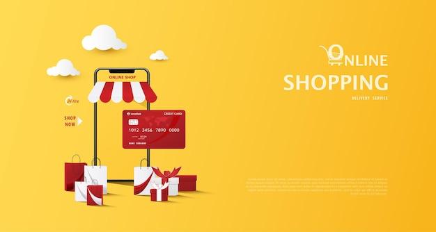 Concepto de comercio electrónico, compras en línea en tiendas web a través del teléfono móvil y el mercado con bolsas de compras con tarjeta de crédito sobre fondo amarillo ilustración vectorial