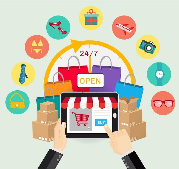 Concepto de comercio electrónico de compras en línea.