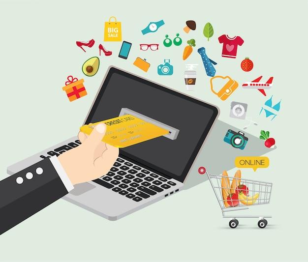 Concepto de comercio electrónico de compras en línea