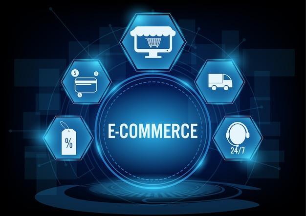 Concepto de comercio electrónico con el icono de línea