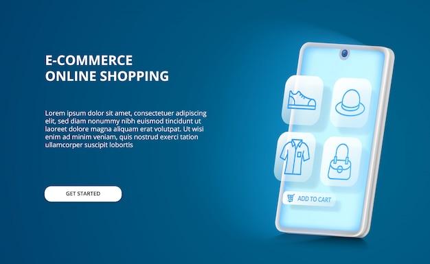 Concepto de comercio electrónico en línea de la aplicación de brillo de teléfonos inteligentes 3d con el icono de moda de contorno azul para comprar y vender