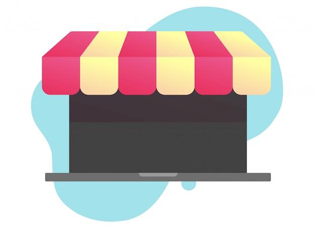 Concepto de comercio electrónico en línea de la tienda de internet en el vector de la pantalla de la computadora portátil
