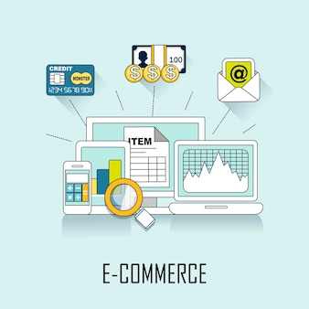 Concepto de comercio electrónico: oferta en línea en estilo de línea