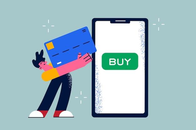 Concepto de comercio electrónico y pago en línea