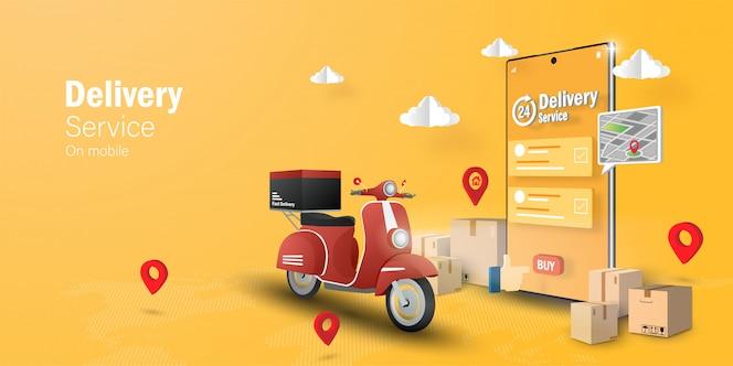 Concepto de comercio electrónico, servicio de entrega en aplicación móvil, transpotation o entrega de comida en scooter