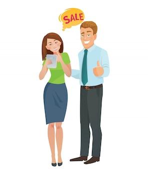 Concepto de comercio electrónico de ventas hombre y mujer