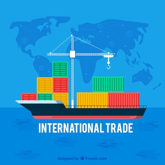 Concepto de comercio internacional con diseño plano