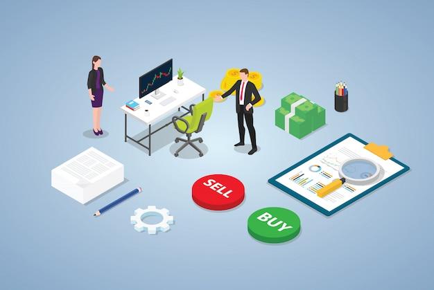 Concepto de comercio del mercado de valores del comerciante con personas del equipo del hombre de negocios y algunos datos de análisis financieros y gráficos con estilo isométrico moderno