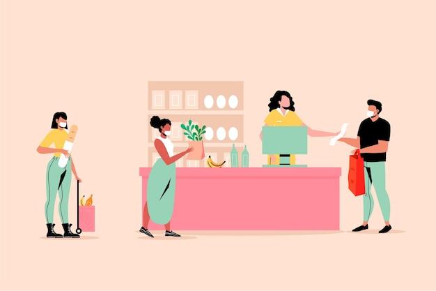 Concepto de comestibles de compras de personas