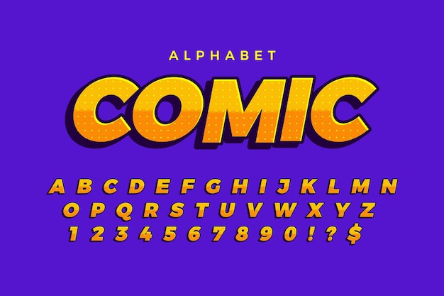 Concepto cómico 3d para colección de alfabeto