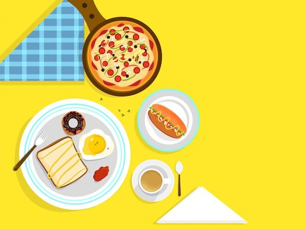 Concepto de la comida y de la bebida con los alimentos del brakefast.