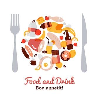 Concepto de comida y bebida en forma de placa con tenedor y cuchillo plana
