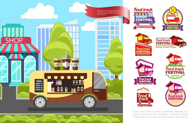 Concepto de comida callejera plana