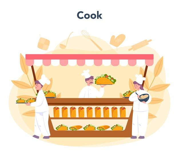 Concepto de comida callejera shawarma