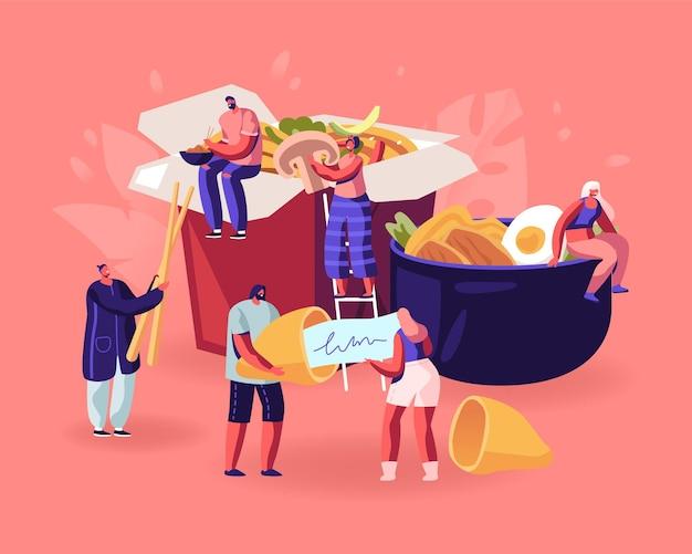 Concepto de comida china. ilustración plana de dibujos animados