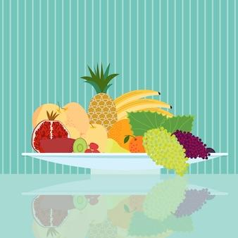 Concepto de comida natural plana