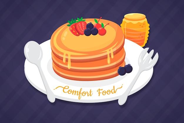 Concepto de comida reconfortante con panqueques