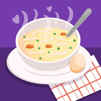Concepto de comida reconfortante con sopa