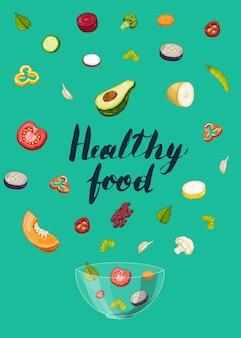 Concepto de comida saludable con trozos de vegetales