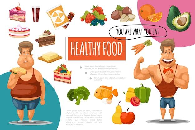 Concepto de comida sana de dibujos animados