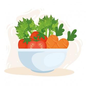 Concepto de comida sana, verduras frescas en un tazón